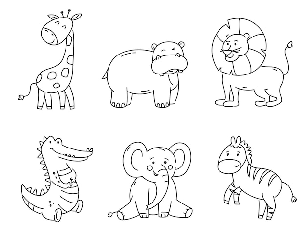 Set of outline tropical animals isolated