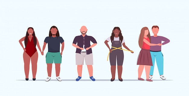Set  overweight people group standing together standing together  over size mix  men women unhealthy lifestyle obesity concept full length flat horizontal