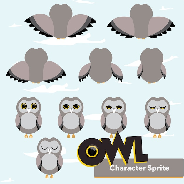 Set of owl grey character sprite
