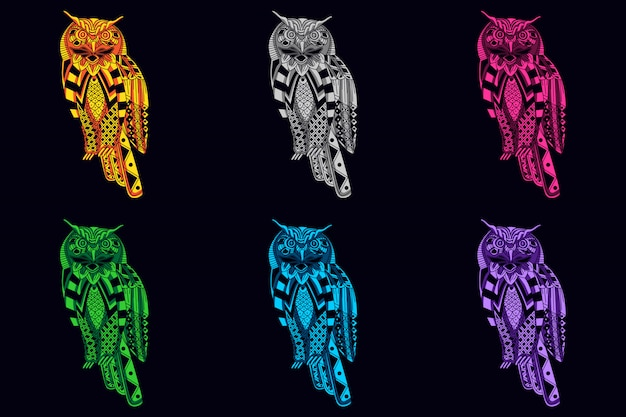 Set of owl with glow color