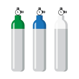 Set of oxygen cylinder flat concept vector.