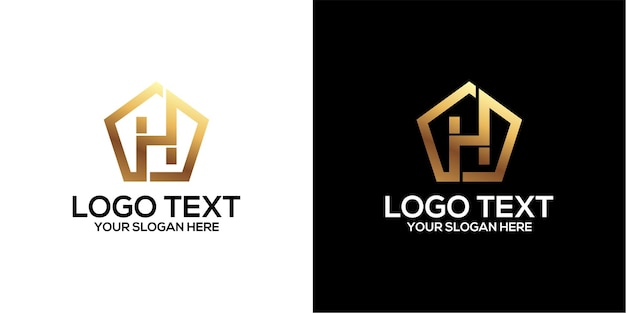 Set of p logo combined with letter h designs template premium vector entagon
