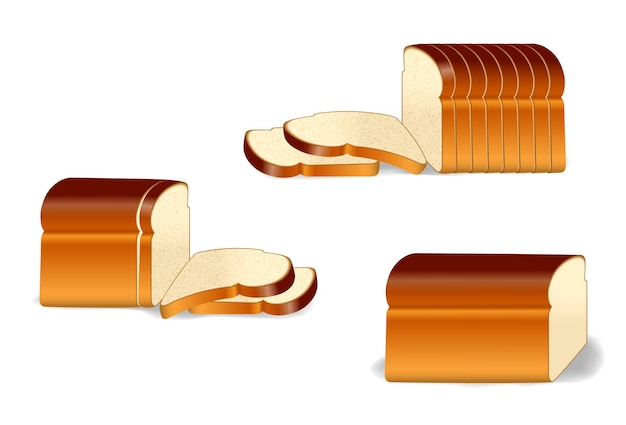 Set of pack of sliced bread or toast bread packaged with clip