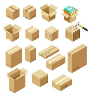 Set of package isometric illustration