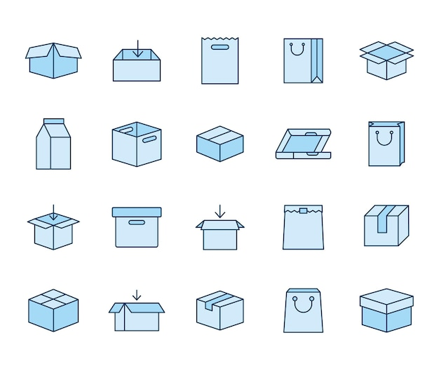 Set of packages icons on a white background