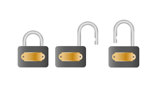 Set padlock. open and closed padlock. isolated on a white background.