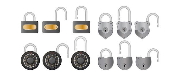 Set padlock. open and closed padlock. isolated
