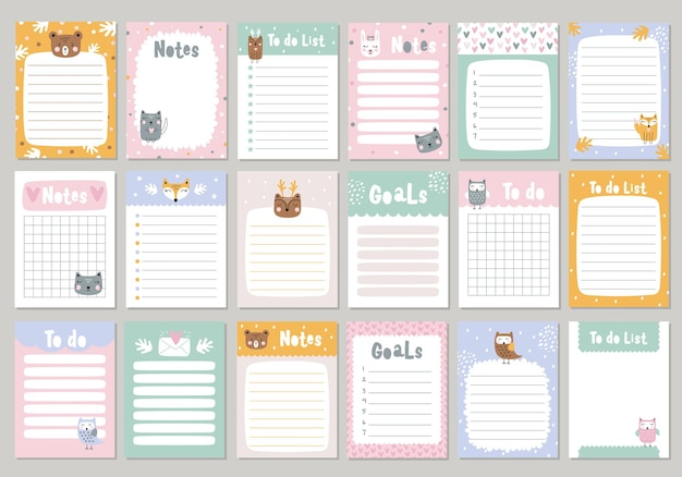 Set pages for notebook with cute animals