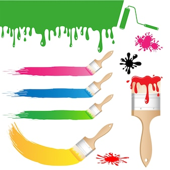 Set of paint brush vector