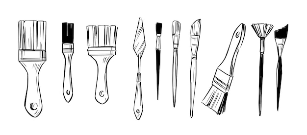 Set of paint brushes. hand drawn sketch.