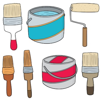 Set of paint bucket and paint brush