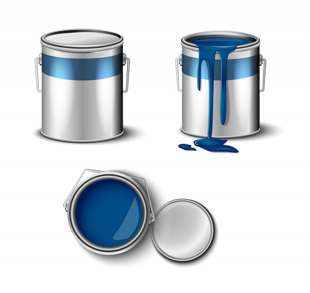 Set of paint can blue color top and side view.