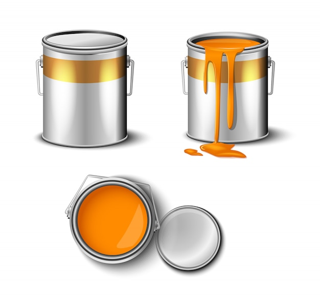 Set of paint can orange color top and side view.