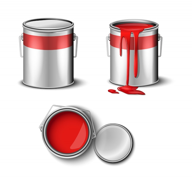 Set of paint can red color top and side view illustration