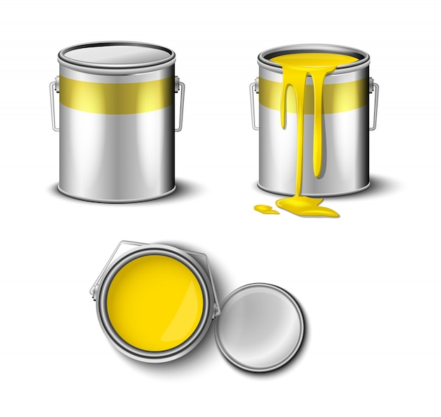 Set of paint can yellow color top and side view.