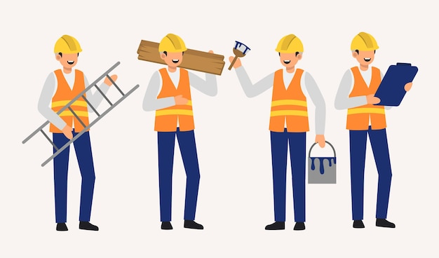 Set of paint staff decorator in cartoon charactoers with differrent isolated flat   illustration