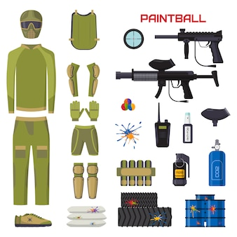Set of paintball club accesories