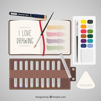 Set of painting materials in flat style