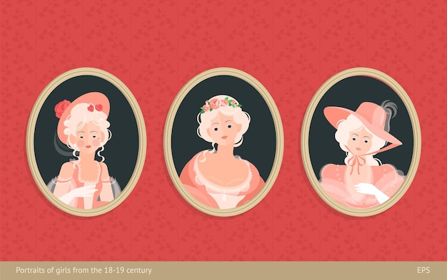 A set of paintings in frames. girls in dresses of the 18-19th century. cute curls on the head. noble portrait. on the background of vintage wallpaper. colorful  illustration in flat style