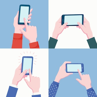 Set of pairs of human hands holding mobile phone illustration