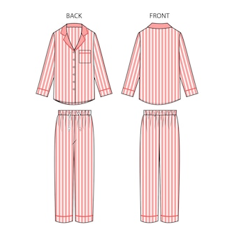 파자마 전면 및 후면보기를 설정합니다. 잠옷 복장.