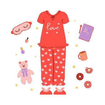 Set for pajama party isolated on a white background vector illustration in flat style
