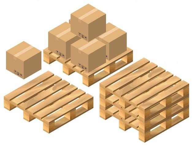 Набор паллет и картонных коробок