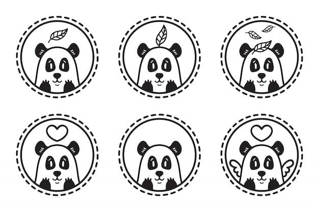 Set of panda emblem collection