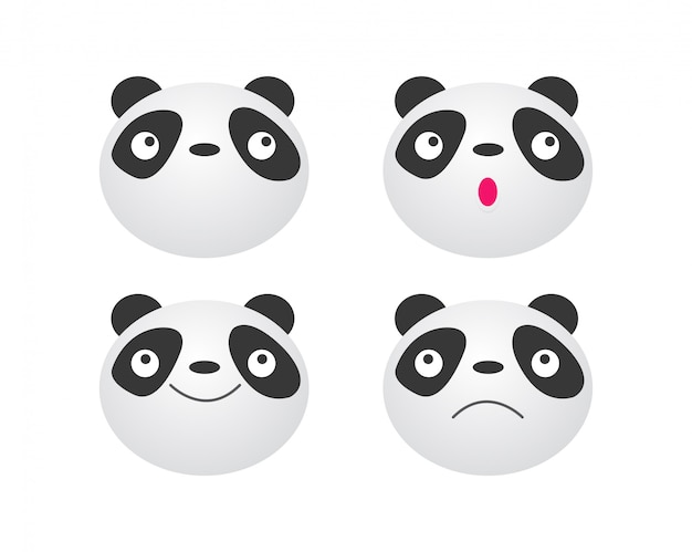 Set of panda face, cute animal panda bear icon   illustration isolated