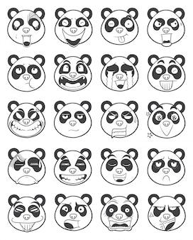 Set of panda face emoticon outline illustration vector