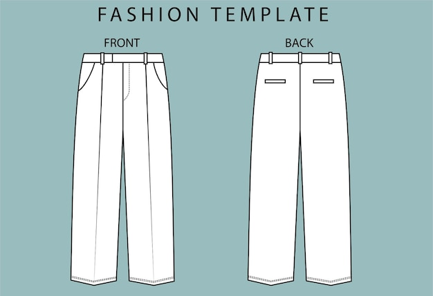 パンツの正面図と背面図を設定します。パンツファッションフラットスケッチテンプレート。