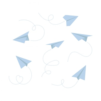 Set of paper airplane isolated on white background. icon symbol of travel and route.