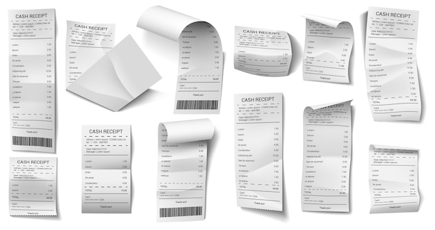 Set of paper checks in various forms