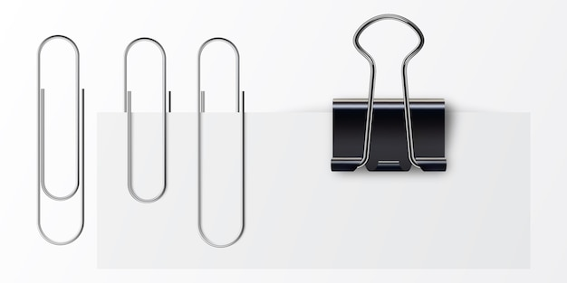 Set of paper clip with black binder.