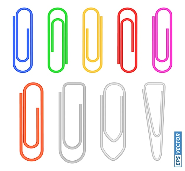 Set of paper clips colored or realistic metal paper clips isolated eps vector