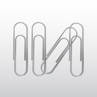 Set of paper clips  on white background