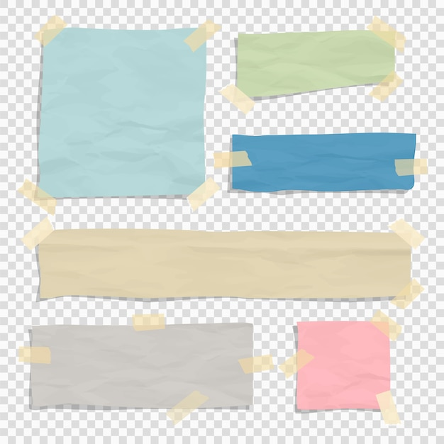 Set of paper color ripped pieces