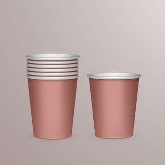 Set of paper cups for recycling.   illustration