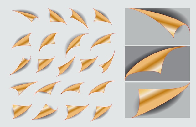 Set of paper curls with realistic shadow or curled corners blank empty book or curved page fold