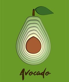 Set of paper cut green avocado, cut shapes