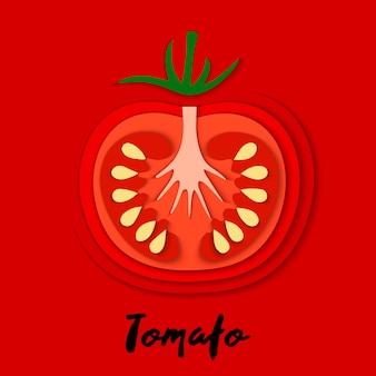 Set of paper cut red tomato, cut shapes