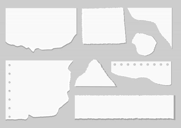 Set of paper different shapes scraps.
