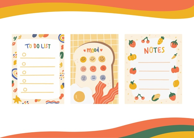 Set of paper notes and mood tracker