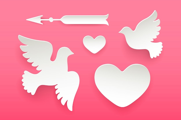 Set of paper objects, heart, pigeon, bird, arrow