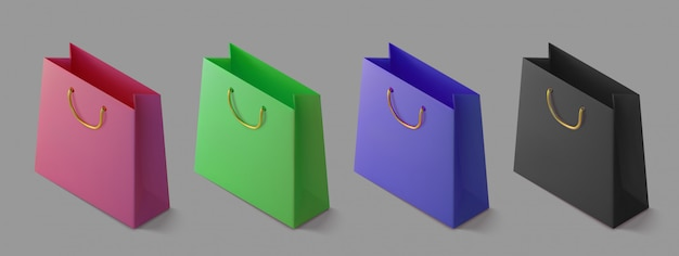 Set paper realistic colorful shoping bag. isometric package for purchases. handbag 3d icon.