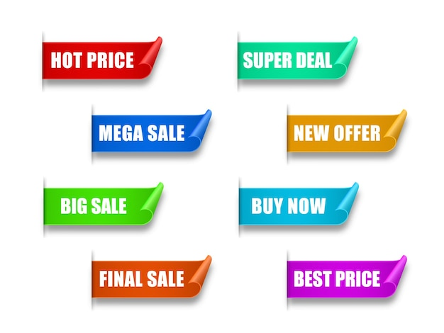 Set of paper sale sticker best choice order now special offer new and big sale banners
