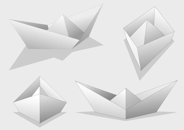 Set of paper ships illustration