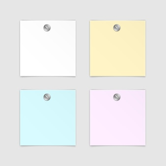 Set of paper sticker sticky note post memo label  on white background
