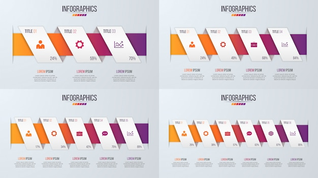 Set of paper style infographic timeline designs with 3-6 steps.