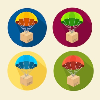 Set of parachutes icons isolated on white